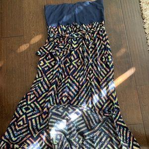 Navy blue maxi dress with Slit